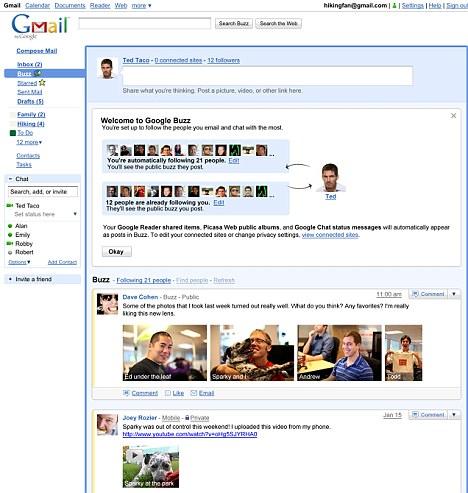 Google Buzz (kliknite za povečavo)
